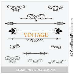 calligraphic vintage elemets and symbols set