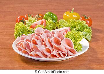Slices of Mortadella salami