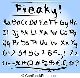 Freaky font alphabet - Graphic freaky or grungy font with...