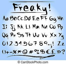 Freaky font alphabet