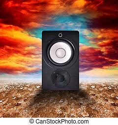 Speaker in desert land