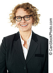 Cropped image of a curly haired business lady, closeup shot