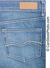 azul, tela vaquera, bolsillo, etiqueta