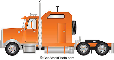 Tractor Unit - An Orange American Style Tractor Unit with...