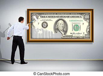 Businessman with a paint brush and banknote