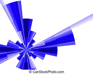 abstract futuristic figure of blue color on a white background