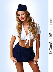 Woman retro style with stewardess cap - Young woman dressed...