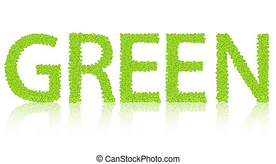 word of the green isolated on white. Vector illustration. eps10