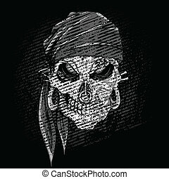 Grungy Skull - illustration of grungy abstract skull on dark...