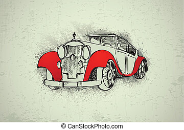 Vintage Car on Grungy Background