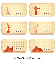 Ticket for Different Places - illustration of ticket for...