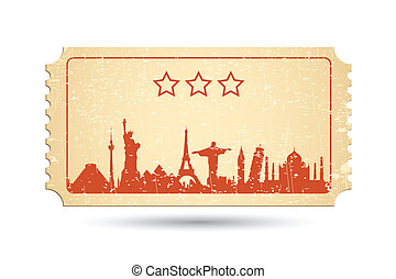 Travel Ticket - illustration of famous monument around the...