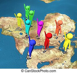 3d people on the world map in isolation