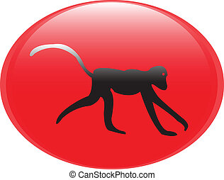 Chinese zodiac. - The monkey, Chinese zodiac in red button...
