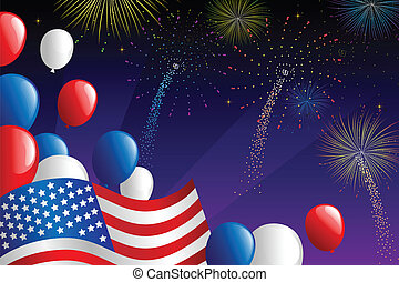 Fourth of July fireworks - A vector illustration of Fourth...