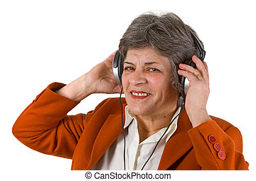 Female senior with headphone