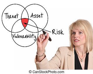 Risk assessment - Businesswoman drawing risk assessment...