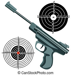 firearm, the gun against the target. vector