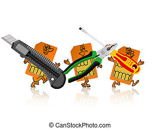 SIM-card in the form of little people are tools.