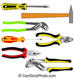 vector set of different tools