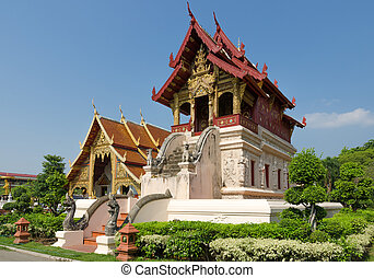 The small scripture repository, Wat Phra Singh, Chiang Mai,...