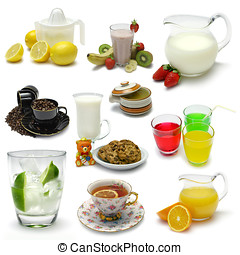 Beverages Sampler - Sampler of various Beverages on white....