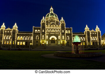 Capital Building of Victoria Canada at Night Time - Capital...