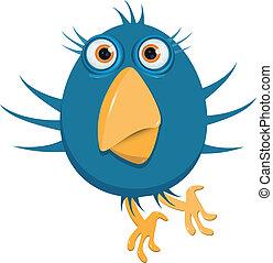 blue bird - illustration of a blue bird with big eyes