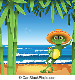 frog on the beach - Illustration a frog on sandy to seacoast