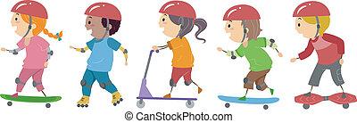 Skater Kids - Illustration of Kids Riding on Skateboards