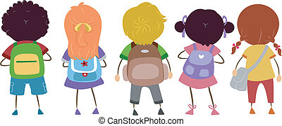 Schoolbags - Illustration of Kids Carrying Schoolbags