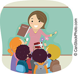 Teachers Day - Illustration of Kids Celebrating Teachers Day...