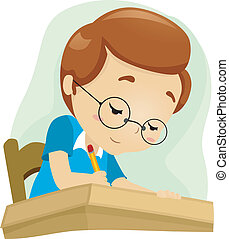 Geeky Student - Illustration of a Geeky Student Studying