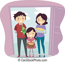 Housewarming Party - Illustration of a Family Carrying...