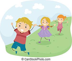 Downhill Run - Illustration of Kids Running Downhill