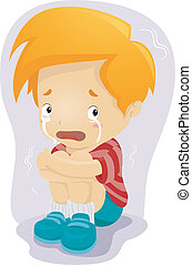 Scared Kid - Illustration of a Kid Crying in Fear