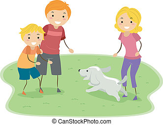 Family Activity - Illustration of a Family Playing with...