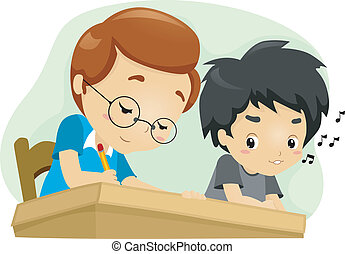 Cheating Kid - Illustration of a Kid Glancing at His...