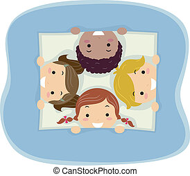 Peeking Kids - Illustration of Kids Taking a Peek