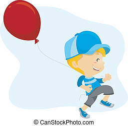 Happy Kid - Illustration of a Kid Happily Holding a Balloon