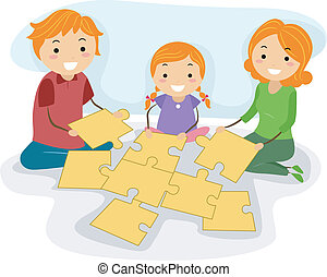Family Activity - Illustration of a Family Solving a Jigsaw...