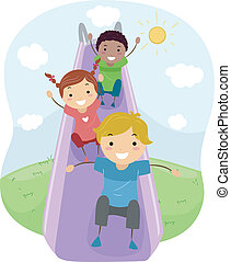 Slide - Illustration of Kids Playing with a Slide