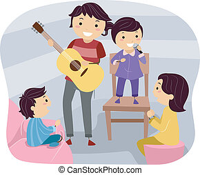 Cultural Night - Illustration of a Family Holding a Cultural...