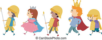Royal Parade - Illustration of Kids Imitating a Royal Parade