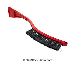 Snow brush and scrapper - Side of a snow brush with black...