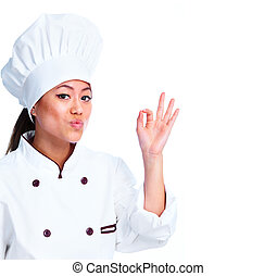 Young chinese chef woman Isolated over white background