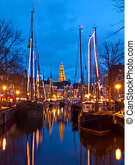Old sailing ships and A-church in Groningen, Holland
