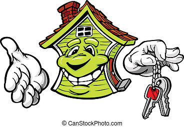 Happy Friendly House Holding Keys Vector Cartoon - Cartoon...
