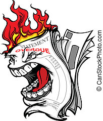 Cartoon Vector Image of a Screaming Billing Statement on...