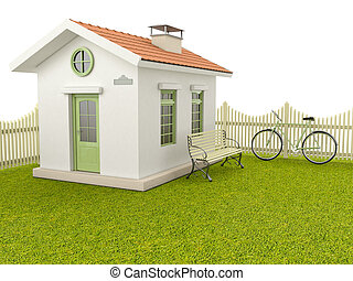 House with fence - House on the green lawn, fence, bench and...